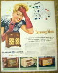"This fine vintage advertisement for a 1946 ad for General Electric Radio is in very good condition but is slightly yellowed and measures approx. 9 3/4"" x 12 1/2"". This Radio Magazine Adverti..."