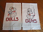 Vintage embroidered linen tea towels with poodles. One reads: Guys, other: Dolls. Nice crisp condition; I doubt they were ever used. 18.5 long x 11.5 wide. estcs1/07