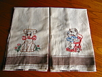 Two adorable vintage embroidered linen kitchen towels. So cute and they do not appear to have been used. No holes, tears or spots that I noticed.