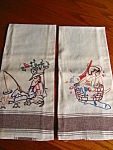 Two hillbilly theme vintage embroidered figurines kitchen towels. Very cute LINEN towels. These towels do not appear to have been used. No holes, tears or spots that I noticed.