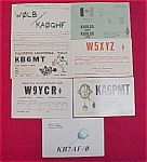 Seven collectible Amateur Citizens Band Radio Club exchange or trade cards from the early 1980s.<BR><BR>Two from Davenport, IA<BR>Two from Fullerton, CA<BR>Austin, TX<BR>Kansas City, KS<BR>Rock Island...