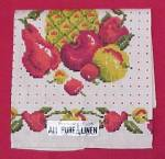 Kitchen Towel covered in Red Dots and Fruits in beautiful, bright graphics.<BR><BR>Pineapple, Apples, Pears, Peaches, Apricots, Cherries on both sides.<BR><BR>Marked with the original Silver and Black...