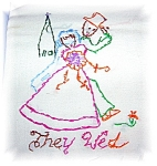 7 Vintage hand Embroidered dish Towels. They are lovely and all differen<BR>1.The Man<BR>2. The maid<BR>3. They Meet<BR>4.He Proposed<BR>5.The Trip<BR>6.They Wed<BR>7 Home Dancing.