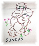 7 Vintage  Floursack Tea Towels that are hand Embroidered with Kitty Kats for every day of the week. They are in great condition, and are the full size ones.