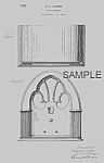 1930s Patent document [Matted For Framing] for design of a Cathedral Radio Cabinet by E.L. Combs<BR><BR>We have others on this site.<BR><BR>The color photo of the radio is for reference only; we are n...
