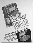 "A great vintage partial page Art Deco original magazine ad.  Ad measures approximately:  4 3/4"" x 6 1/4"".   Condition: EXCELLENT.  Recordio Apartment Model is a radio and phono that reproduc..."