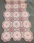 Vintage White And Pink Crocheted Runner Scarf
