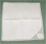 5 Monogrammed Linen Napkins, Cutwork
