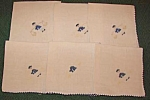 6 Embroidered Linen Luncheon Napkins