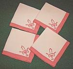 Fine Linen Appliqued Two Color Napkins - 4