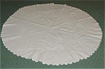 Round Linen Tablecloth, Embroidery, Eyelet