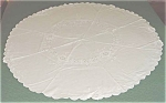 Round White On White Embroidered Tablecloth