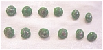12 Antique Green Glass Diminutive Buttons