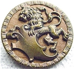 Large Antique Metal Picture Button Lion God