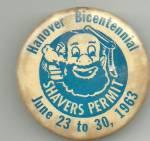 Hanover, Pa Shaving Permit Pinback