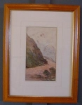 19c Watercolour, Frank Wright Mountain Scene.