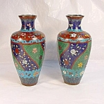 Pair Of 19th Century Cloisonne Vases.