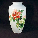 Very Fine Cloisonne Vase With Roses.