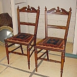 Pair Edwardian Inlaid Bedroom Chairs.