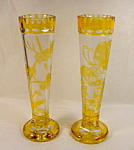 Pair Yellow Overlay Glass Vases.