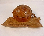 Vintage Carved Fruit Inkwell.