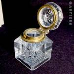 Lidded Inkwell, Late Victorian Cut Glass.