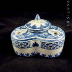 Blue And White Faience Inkwell, Handpainted.