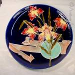 Large Continental Floral Majolica Platter.