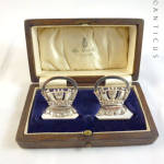 Sterling Silver Menu Holders, Naval, Boxed.