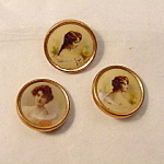 Three Edwardian Buttons, Photos Of Women.