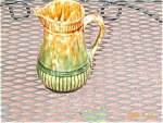 Yellowware Green Glaze Pitcher