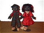 Black Americana Boy & Girl Antique Rag Dolls