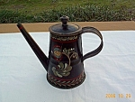 Toleware Handpinted Signed Tin Coffee Pot Toleware
