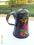 Toleware Hand Painted Coffee Pot '50s Tin Folk Art