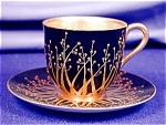 Royal Worcester Art Nouveau Jeweled Demi C&s