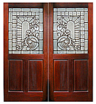 Original Cherry Wood Doors With Leaded & Beveled Glass