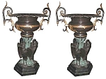 Pair Of Large Bronze Urns With Three Herons At Base