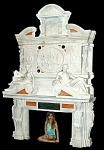 Monumental Solid Carved Marble Figural Fireplace