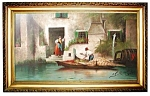 Oil On Canvas Painting Of A Venetian Scene 1901