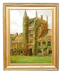 Framed Oil On Canvas Of Gothic Building Signed Perry