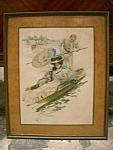 Antique Print Of Woman On Gondola