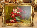 Oil On Canvas Painting Of Roses By Gaston Dubois