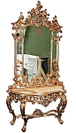 Beautiful 19th C. Mirrored Console W/ White Marble Top
