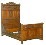 50.4558 Carved Walnut Victorian Bed