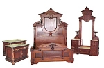 4 Pc Victorian Walnut Bedset By Thomas Brooks