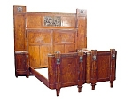 Walnut & Bronze 5 Piece Inlaid Bedroom Suite