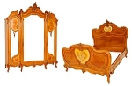 Spectacular Louis Xv Bed & 3 Door Armoire