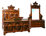 Beautiful 19th C. American Burled Walnut Bed