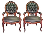 Late 19th C. Walnut Victorian Clients Chairs