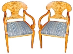 Pr Biedermeier Armchairs W/blue Upholstry